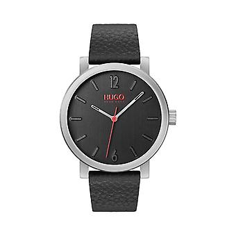 Hugo Mens 'Rase' Round Black Dial Black Strap Watch 1530115