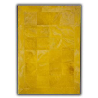 Rugs -Patchwork Leather Cubed Cowhide - Plain Yellow with Border