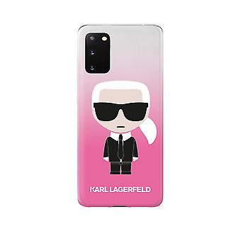 KARL LAGERFELD Iconic Boss Silicone Backcover Hoesje Samsung Galaxy S20 - Roze Transparant