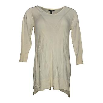 H by Halston Women's Sweater 3/4 Sleeve w/Stitch Details Ivory A287135