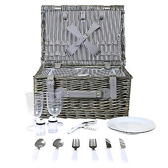 Charles Bentley Wicker picnic kurv hæmmer sæt til 2 eller 4 person-stribet foring opvaskemaskine bevis-fuldt samlet