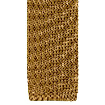 Michelsons of London Silk Knitted Skinny Tie - Gold