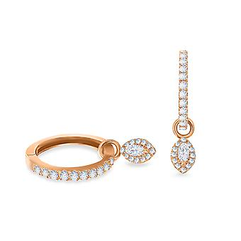 Earrings Hoops Biblos 18K Gold and Diamonds - Rose Gold