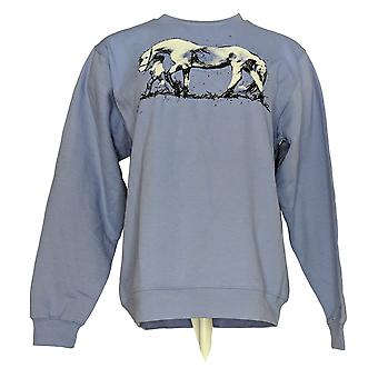 Artisans the Art of Apparel Women's Sweater Printed Crew Neck Blue