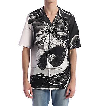 Valentino Tv0aa77165m37y Männer's weiß/schwarz Baumwollhemd