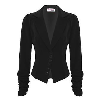Celeb senhoras Ruched manga 6 botão costurado equipado escritório inteligente jaqueta Blazer
