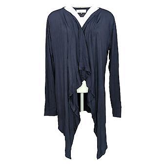 Angel Women's Sweater Open Front Cascade Cardigan Blue