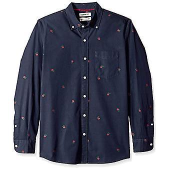 Goodthreads Men's Standard-Fit Langarm Dobby Shirt, -Navy rose, groß