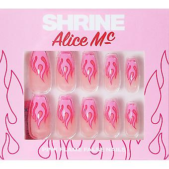 Shrine Alice MC X Shrine High Quality False Nails - Pink Flames (Coffin)