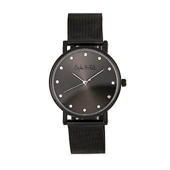 Sophie & Freda Savannah Mesh Bracelet Watch w/Swarovski Crystals - Black