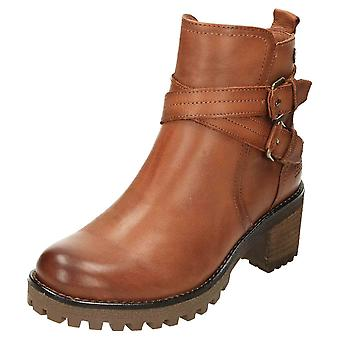Carmela Chunky Leather Ankle Heeled Boots 67400 Brown