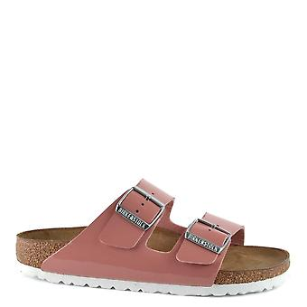 Birkenstock Arizona Patent Old Rose Two Strap Sandals