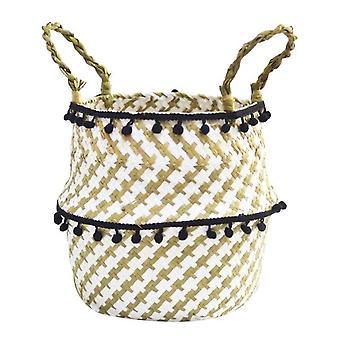 Handmade Foldable Laundry Straw Wicker - Rattan Seagrass Belly Garden Flower
