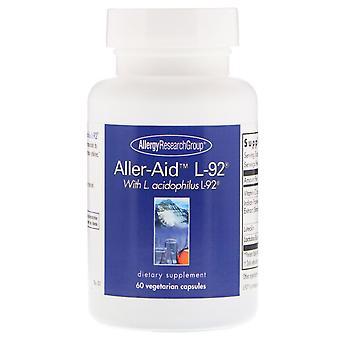 Allergie Research Group, Aller-Aid L-92 met L. Acidophilus L-92, 60 Vegetarische C