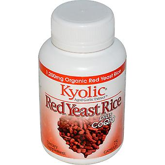 Kyolic, Aged Knoflook extract, rode gist rijst, plus CoQ10, 75 Capsules