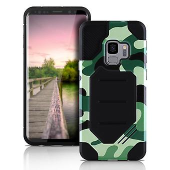 Camouflage Cover til Samsung Galaxy S9 Camouflage Hard-Plastic Hybrid Cover Green