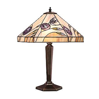 2 Lâmpada de mesa média leve Tiffany Vidro, Patina Antiga Profunda, E27