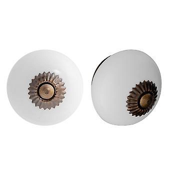 Nicola Frühling Keramik Schrank Schublade Knöpfe - weiß - Packung mit 24