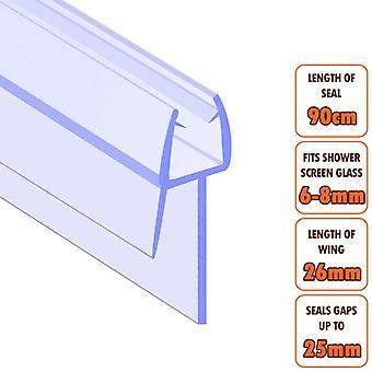 ECOSPA Bath Shower Screen Door Seal Strip - for 6-8mm Glass - Seals Gaps to 25mm