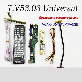 Universal Lcd Tv Controller Driver Board, Pc/vga/hdmi/usb Interface+7 Key