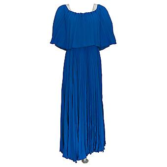 Antthony Dress Couture Pleated Off-The-Shoulder Maxi Blue 695-029