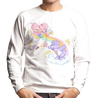 Care Bears Cheer Bear och dela Bear Unrolling A Rainbow Men' s Sweatshirt