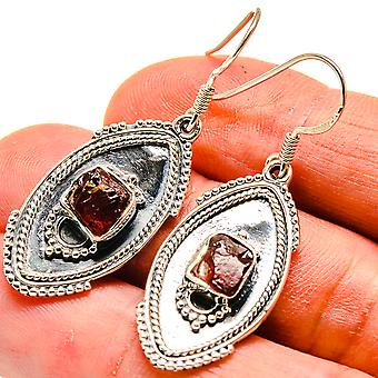 "Rough Pink Tourmaline Earrings 1 3/4"" (925 Sterling Silver)  - Handmade Boho Vintage Jewelry EARR408153"