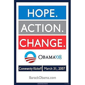 Barack Obama - (Hope Action Change) Campaign Poster Movie Poster (11 x 17)