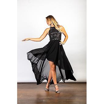 Luvforever black halterneck sequin asymmetric dress