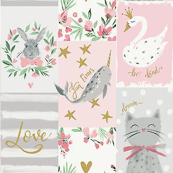 Be Kind Collage Wallpaper Blush Pink Belgravia 2555