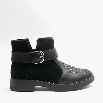 FitFlop Athena Flower Stud Ladies Leather Ankle Boots All Black