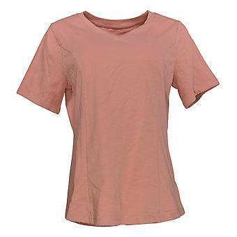 Denim & Co. Women's Top Essentials Textured Knit Short-Sleeve Pink A374659