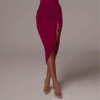 Drawstring Ruched Γυναίκες Μολύβι Midi Φούστα, Σχισμή Υψηλή Μέση, Bodycon Streetwear,
