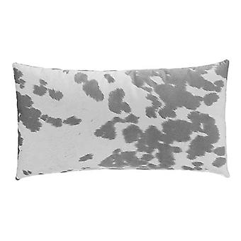 """Faux Cowhide Sueded Lumbar Pillow 22"""" X 12"""", Grey"""