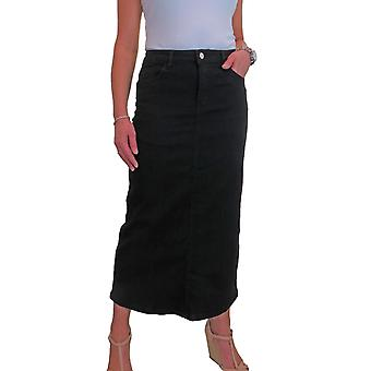 Women's Very Stretchy Denim Maxi Skirt Ladies Casual Straight Long Jeans Skirt