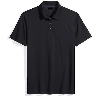 Essentials Men's Slim-Fit Quick-Dry Golf Polo Shirt, Black, Small