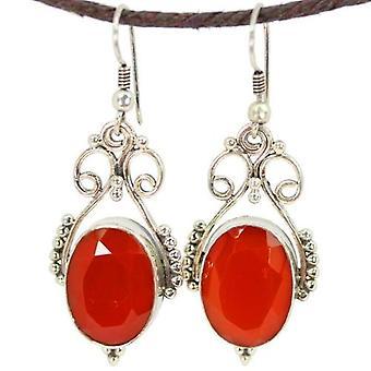 Open Work Carnelian Queenly Earrings
