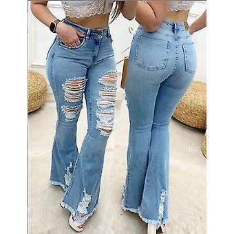 Flare Jeans Femei Rupt Wide Leg Denim Pantaloni Vintage Bell Bottom Jeans