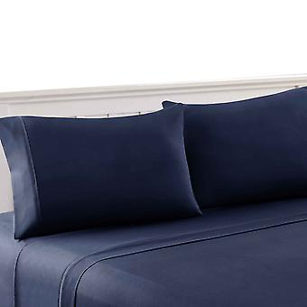 Bezons 4 Piece Queen Size Microfiber Sheet Set The Urban Port, Nay Blue
