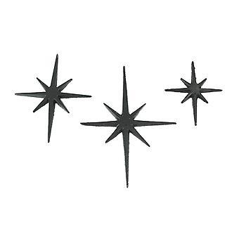 Set of Three Cast Iron 8 Pointed Atomic Starburst Wall Hangings Mid Century Modern Stars