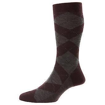 Pantherella Abdale Merino Wool Argyle Socks - Maroon