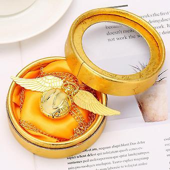 Golden Snitch Ball Pendant Pocket Watch Quartz Necklace Clock Lovely Cute Fob