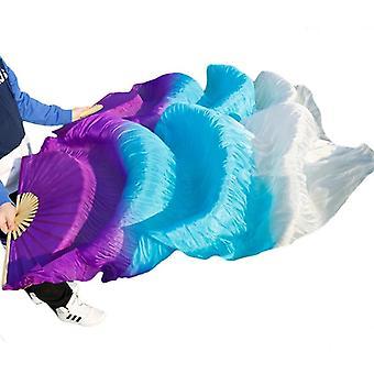 Käsintehty värjätty silkki vatsa tanssi pitkä tuuletin