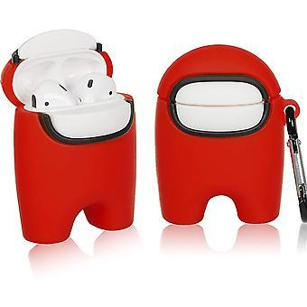 Sarjakuva 3D-suojakotelo AirPod 2/1: lle, Kawaii punaisen hahmon suunnittelulle