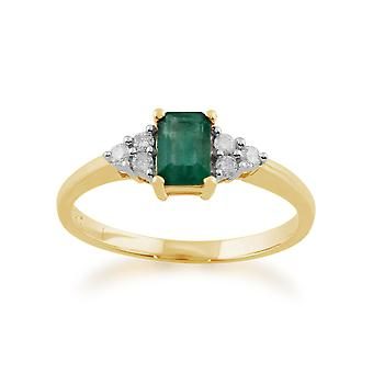 Classic Baguette Emerald & Diamond Ring in 9ct Yellow Gold 26986