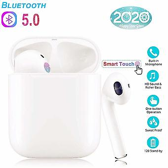 Bluetooth 5.0 Headsets TWS I12 Wireless Headsets Auto Pairing Touch Earbuds In-Ear Headphones for Most Android and iOS Devices Earbuds-White