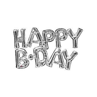 Ballon aluminium lettres Happy Birthday argent 76 cm