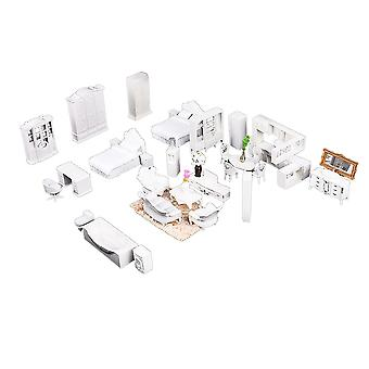 24 Set White ABS Doll House Furniture Dollhouse Decoration