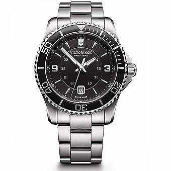 Relógio masculino Victorinox MAVERICK Grande, moldura preta e mostrador, alça de aço - 43 mm