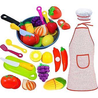 FengChun Play Küche Zubehör Set für Kinder - Schneiden Spielzeug Obst Gemüse - Kochen Pfanne - Schürze